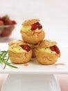 Creamy strawberry choux puffs Royalty Free Stock Photo