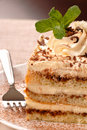 Creamy tiramisu with mint on a white plate Royalty Free Stock Photos