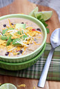 Creamy tortilla soup bowl of with avocado and cheese Stock Photo