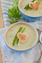 Creamy vegetable soup with fresh cucumber and toasted bread Royalty Free Stock Images