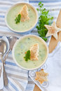 Creamy vegetable soup with fresh cucumber and toasted bread Royalty Free Stock Image