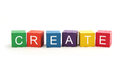 Create is spelled in letter blocks isolated on white background Stock Photo