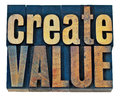 Create value wood typography inspiration concept isolated words in vintage letterpress type blocks Royalty Free Stock Photo