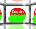 Creatief op brain on screen shows human creativiteit Royalty-vrije Stock Fotografie