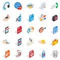 Creating advertising icons set, isometric style Royalty Free Stock Photo
