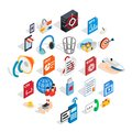 Creating advertising icons set, isometric style Royalty Free Stock Photo