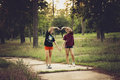 Creating a heart teenagers in forrest in houston texas usa Stock Images