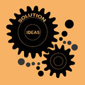 Creating ideas a black machine some in a yellow background Royalty Free Stock Photo