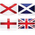 Creating the union jack set showing flags used as a basis for st george for england st andrew for scotland and st patrick for Royalty Free Stock Photography