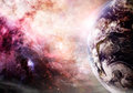 Creation of earth photo based image and galaxy elements this images supplied by nasa Royalty Free Stock Photo