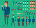 Creation set of handsome young man character in sportswear for create animation. Separate parts of sportsman.