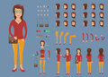 Creation set of hipster woman character with bag for create animation.