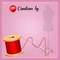 Creations by illustration of spool of thread with a needle Royalty Free Stock Image