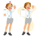 Creative abstract conceptual design art happy cartoon nurse character vector illustration Stock Photography