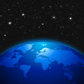 Creative abstract global communication scientific concept: space view of Earth planet globe with world map in Solar