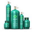 Set of different liquefied argon industrial gas containers Royalty Free Stock Photo