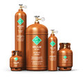 Set of different liquefied helium industrial gas containers Royalty Free Stock Photo