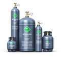 Set of different liquefied nitrogen industrial gas containers Royalty Free Stock Photo