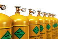 Row of liquefied carbon dioxide industrial gas containers Royalty Free Stock Photo