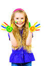 Creative art laughing little girl painted in bright colors happy childhood isolated over white Stock Images