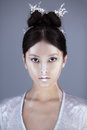 Creative art make-up and hairstyle. Portrait of beautiful asian girl. Royalty Free Stock Photo