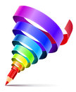 Creative art pencil design concept spiral color rainbow ribbon white background eps vector illustration Royalty Free Stock Image