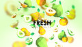 Creative background with low poly fruit. Illustration with polygonal pear.