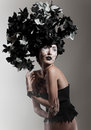 image photo : Creative beauty shot with black and white headdres