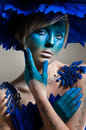 Creative beauty shot with cyan headdress Stock Image