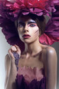 Creative beauty shot with pink headdress Stock Images