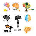 Creative brain abstract vector logo design template. Royalty Free Stock Photo