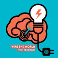 Creative brain light bulb concept illustration wire the world icon with power Stock Photography