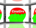 Creative On Brain On Screen Shows Human Creativity Royalty Free Stock Photography