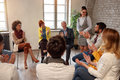 Creative business people meeting in circle Royalty Free Stock Photo