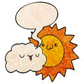 A creative cartoon sun and cloud and speech bubble in retro texture style Royalty Free Stock Photo