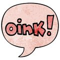 A creative cartoon word oink and speech bubble in retro texture style Royalty Free Stock Photo