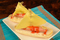 Creative cheese hot dog a decorated as a sailboat kid snack Stock Images