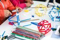 Creative children play with craft. Cute preschool children prepa Royalty Free Stock Photo