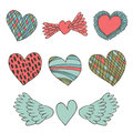 Creative collection of hearts cute valentines elements for design and decoration love set Royalty Free Stock Photo