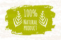 Creative colorful poster prozentuale 100 green products for the health of the whole family no chemical additives isolated on white Royalty Free Stock Photo
