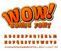 Creative comic font. Vector alphabet in style pop