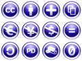 Creative commons blue buttons Stock Photography