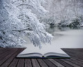 Creative concept Winter landscape magic book Royalty Free Stock Photography