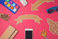 Creative design hero header image with cardboard banner. Back to school modern website header background. Royalty Free Stock Photo