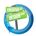 Creative design road sign cycle illustration over white Royalty Free Stock Images