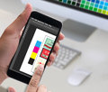 Creative Designer Graphic at work. Color swatch samples, Illustr