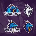 Creative dragon logo template. Sport mascot design. College league insignia, Asian beast sign, School team vector Royalty Free Stock Photo