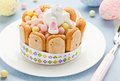 Creative edible gift for kids on holiday Easter. Sweet bunny and Royalty Free Stock Photo