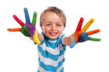 Creative education boy with hands painted in colorful paints ready to make hand prints Stock Images