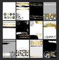 Creative fashion glamour hand drawn card set. Vector collection of black, white, gold textured cards. Beautiful posters
